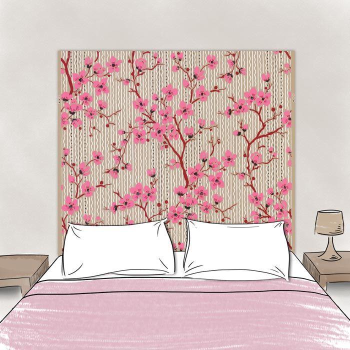 t te de lit cerisiers en tissu. Black Bedroom Furniture Sets. Home Design Ideas